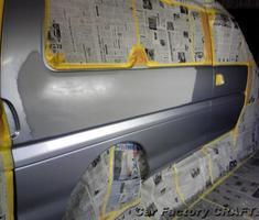 デリカ リアクォーターガラス下部の修正