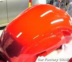 VTR250 タンクのヘコミ、補修跡の修正