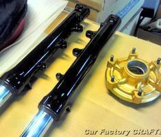 SRV250 前後足回りパーツの補修、塗装